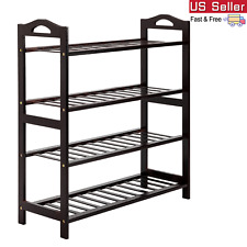 Bamboo Shoe Rack with Handle 4 Tier Shoe Shelf Storage Organizer cabinet