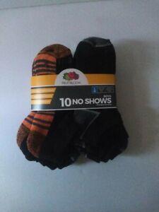 Fruit of the Loom Boys No Show Socks Black 10 Pair L 3-9