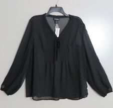 NWT Lane Bryant Black Chiffon Pintuck-Bodice Tie-Neck Blouse Size 14/16
