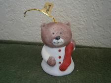 Collectible Christmas Ornament Bell - L'il Chimers Porcelain Bisque Bear - JASCO
