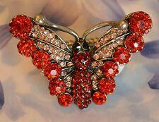 Dolly-Bijoux Fantaisie Grosse Bague Papillon Pavé Cristal Swarowsky Rouge 45mm