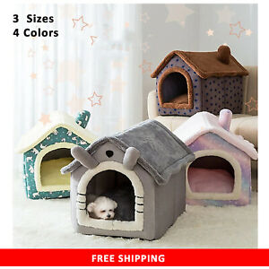Cat House Indoor Pet Dog Cat Bed Puppy Cushion House Soft Warm Nest Foldable New