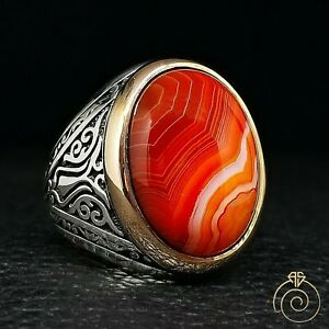 Aqeeq Men Silver Ring Natural Agate Stone Vintage Protect Jewelry Handmade Gift