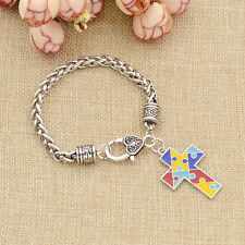 Puzzle Piece Cross Alloy Bracelet Autism Awareness Charm Bangle Jewelry Gift