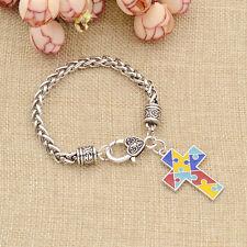 Puzzle Piece Cross Alloy Bracelet Autism Awareness Charm Bangle Jewelry Gift