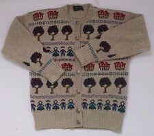 Vtg Charter Club Wool Cardigan Sweater S Oatmeal New England Sampler Teacher