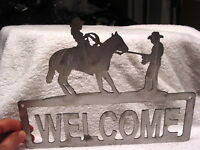COWBOY COWGIRL HORSE WELCOME HOUSE WALL DECORATION METAL SIGN