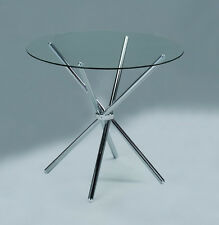 Small Glass Dining Table Modern Kitchen Furniture Chrome Steel Leg Round Room