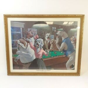 """Arthur Sarnoff Framed Print """"Scratched at Dawn"""" Dogs Playing Pool Funny Wall Art"""