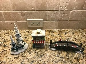 Lot of 3 Christmas village pieces Lighted Hardware store, trees, bridge