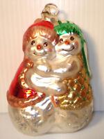 "4.5"" Tall Blown Glass Hugging Loving Snowman Couple Christmas Ornament Melrose"