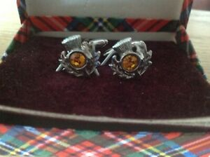 Vintage Cufflinks Silver Tone Scottish Thistle Shape and amber stone