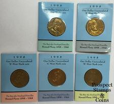 1998 Howard Florey - $1 Mint Mark Australian UNC Coins (C, S, B, M, A) - 5 coins
