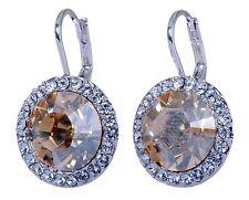 Swarovski Elements Crystal Topaz Round Halo Pierced Earrings Rhodium Plated 157y