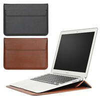 Soft PU Leather Sleeve Cover Case Bag and Stand for MacBook Air Pro 11 12 13 15
