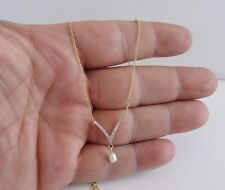 V-SHAPE W/ HANGING PEARL NECKLACE PENDANT W/ .50 CT ACCENTS/ 925 STERLING SILVER