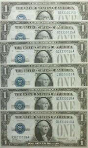 (6) 1928 A $1 Silver Certificate Consecutive serial Numbers Uncirculated. WOW.