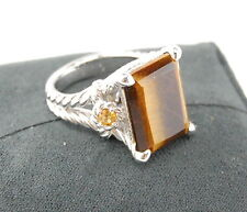 JUDITH RIPKA STERLING SILVER TIGER'S EYE AND CITRINE COCKTAIL RING