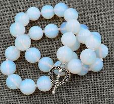 Gemstone12mm Healing Chakra Reiki Opal round Necklace Tibetan silver love clasps