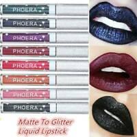PHOERA Waterproof Metallic Metal Lipstick Liquid Glitter Long Lasting Lip Gloss-