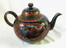 ANTIQUE CHINESE CLOISONNE TEAPOT *DRAGON & PHOENIX with GOLDSTONE c.1890