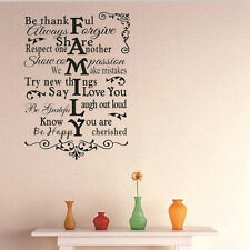 Family Home Rules Quote Wall Stickers Art Dining Room Removable Decals US Stock