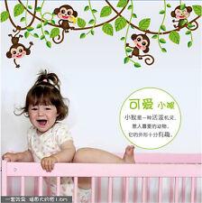 Removable Jungle Monkey Tree Wall Stickers PVC Decal Baby Nursery Room Decor DIY