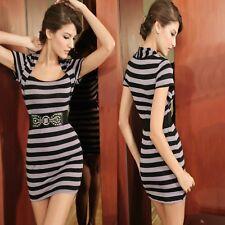 Sexy Black Grey Stripes Casual Skirt Chic Vintage Dress Ladies w Belt Sz S 8 10