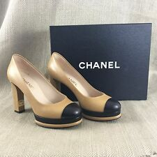 Genuine Chanel Pumps Beige Black Leather Shoes Ladies High Heels 37 Platform