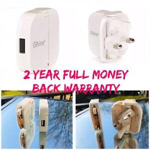 UK Plug Sigle USB Port  Charging Folding 3-Pin Wall Charger And iPhone Cable Uk