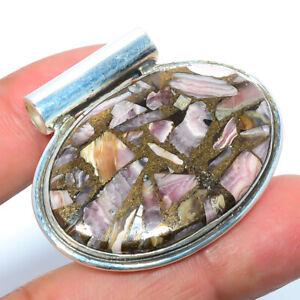 "Copper Rhodochrosite - Argentina 925 Sterling Silver Jewelry Pendant 1.29"" L579"