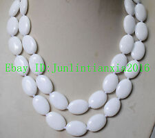 Natural AAA 13x18mm White Oval Jade Gemstone Necklace Super 18-100 Inch