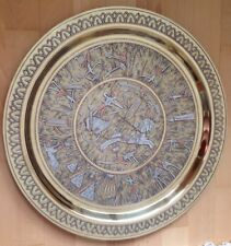 STUNNING 45CM DIAM ANTIQUE EGYPTIAN ROUND BRASS TRAY SILVER METAL & COPPER INLAY