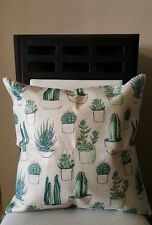 """Beautiful Potted Green Cactus Succulents Linen Throw Pillow Case Cover 18"""" US"""