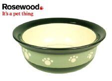 Rosewood Ceramic Dog - Cat Bowl Feed-Time STONEWARE Pet Dish 5 inch Green Paws