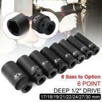 Deep Impact Socket 1/2'' Drive Axle 6 Point Hub Nut 17/18/19/21/22/24/27/30 mm