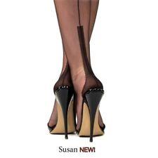 NEW GIO BLACK Susan Heel FF Fully Fashioned Seamed Nylon Stockings Size 11 XL .