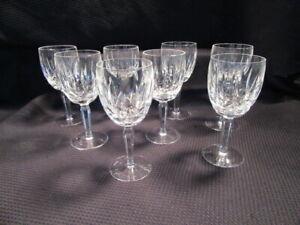 "Set 8 Waterford Kildare Cut Glass Crystal 6-7/8"" Claret Wine Glasses Plain Base"