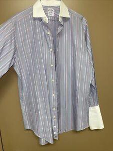 Brooks Brothers Dress Shirt Striped Egyptian Cotton USA Made Size 15-32