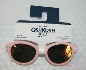 New OshKosh Girls Sunglasses 1 2 yr 0-24m 100% UVA-UVB Round Pink Metallic Lens