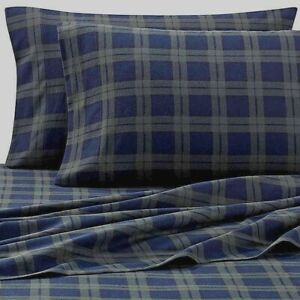 Blackwatch Standard Pillowcases Heavyweight Flannel in Blue Green Set of 2 Cabin