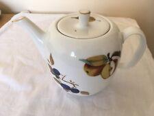 Royal Worcester Fine Porcelain Large Fruit Patterned Teapot - Evesham Gold