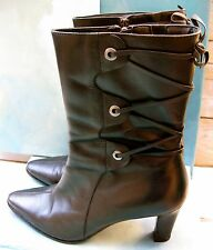 Rockport HAYEK Black Leather Mid-Calf Heeled Back Lace Bootie Wms 8.5 M $125
