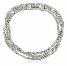 """925 Sterling Silver Tennis Bracelet 3 Row 3.0ct Cubic Zirconia italy 7"""""""