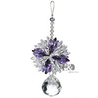 H&D Purple Hanging Suncatcher Crystal Prism Ball Feng Shui Pendant Window Decor