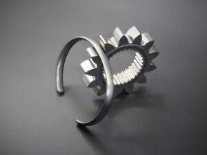 "Men's Oval Solid Sterling Silver ""Oxidised Silver"" Open Torque Bangle Bracelet"