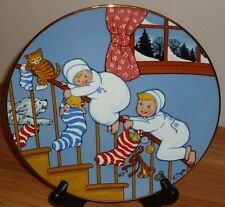 New listing Blue-Button Twins Christmas Plate Down The Stairs House of Global Art 1983