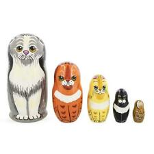 Set of 5 Cats Family Wooden Nesting Dolls 6 Inches
