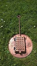 Lovely old decorative French copper plated iron waffle maker and plate