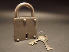 Antique Vintage Style Wrought Iron Square Trunk Chest Box Lock Key Padlock